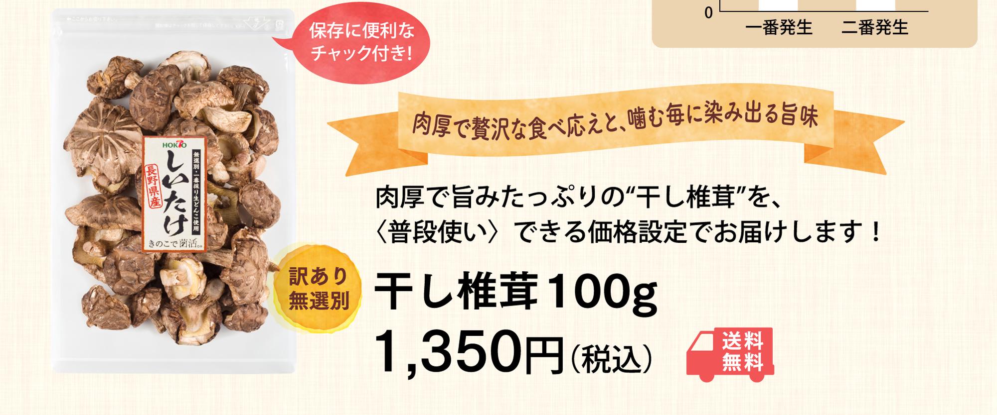 """肉厚で旨みたっぷりの""""干し椎茸""""を、〈普段使い〉できる価格設定でお届けします! 干し椎茸100g1,500円(税込)"""