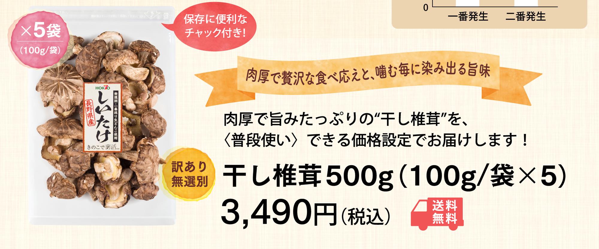 """肉厚で旨みたっぷりの""""干し椎茸""""を、〈普段使い〉できる価格設定でお届けします!500g(100g/袋x5)4,240円(税込)"""